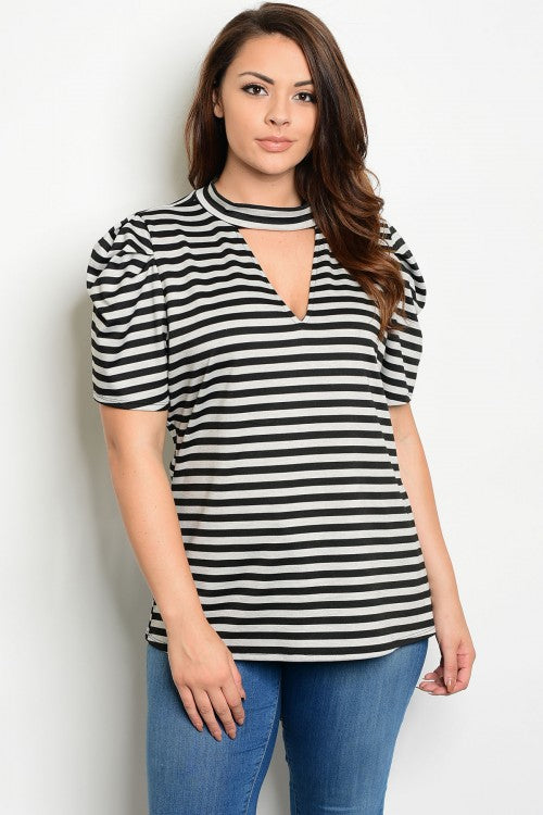 black and gray striped plus size top