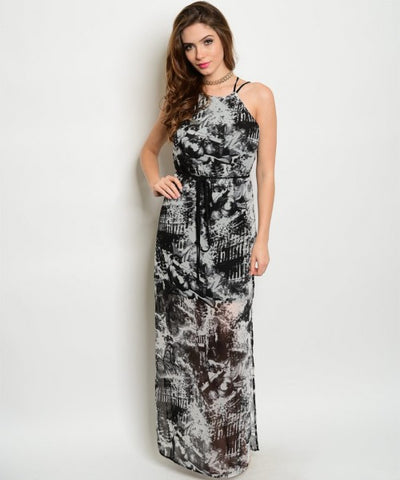 Misses Black and Gray Tie Dye Maxi Dress