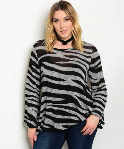 Women's Plus Size Black and Grey Bell Sleeve Sweater Top