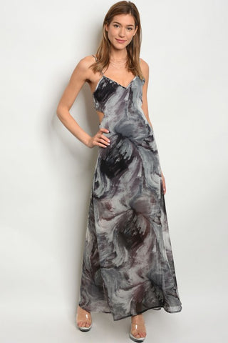 Black and Grey Tie Dye Maxi Dress