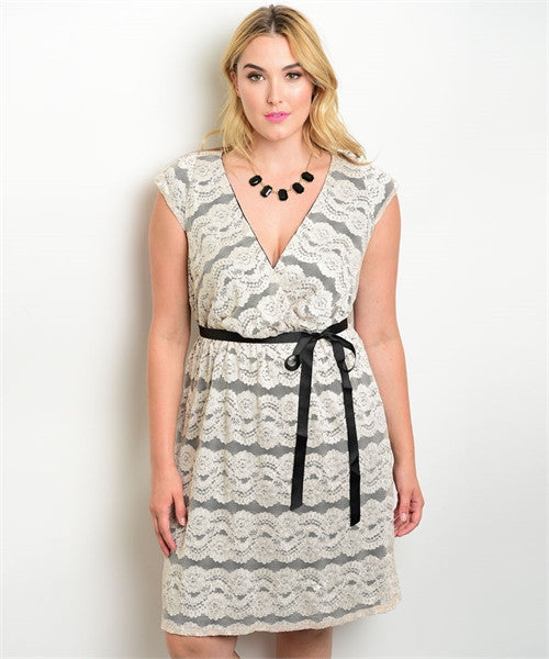 Women's Plus Size Black and Ivory Lace Overlay Dress