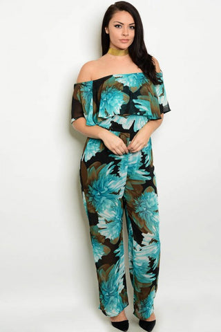 Black and Jade Floral Off Shoulder Plus Size Jumpsuit