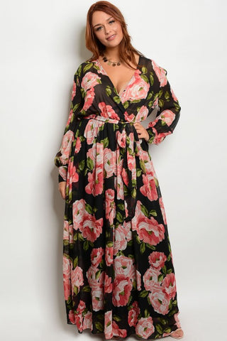 Black and Pink Floral Chiffon Plus Size Maxi Dress