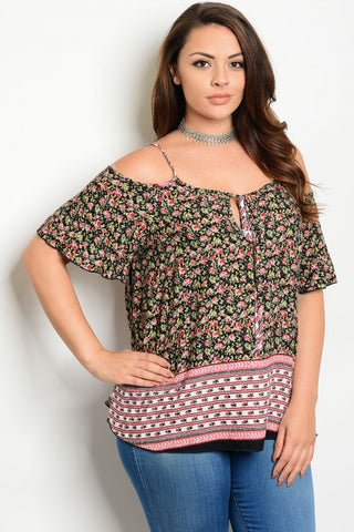 959b36801cc Black and Pink Floral Exposed Shoulder Plus Size Top