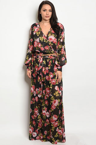 Black and Pink Floral Chiffon Plus Size Top and Maxi Skirt Set