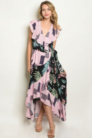 Black and Pink High Low Wrap Maxi Dress