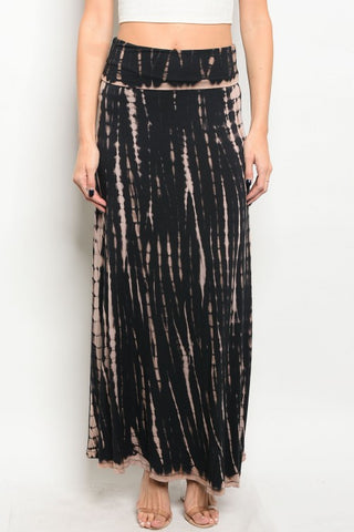 Misses Black and Tan Tie Dye Maxi Skirt