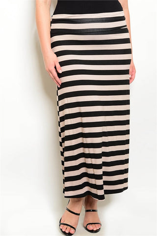 Black and Taupe Plus Size Maxi Skirt