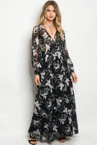 Misses Black and White Floral Chiffon Maxi Dress