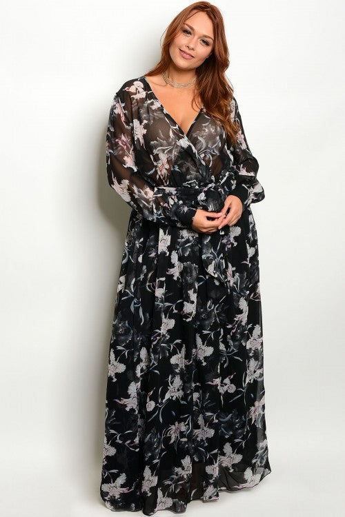 Black and White Floral Chiffon Plus Size Maxi Dress