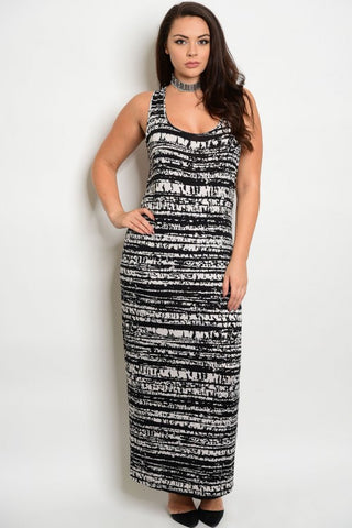 Women's Plus Size Black and White Abstract Print Maxi Dress