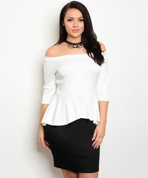 Women's Plus Size Black and White Off Shoulder Peplum Bodycon Dress