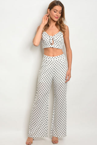 Black and White Polka Dot Crop Top and Trouser Pants Set
