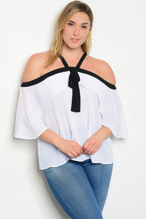 Black and White Ruffled Neckline Plus Size Top