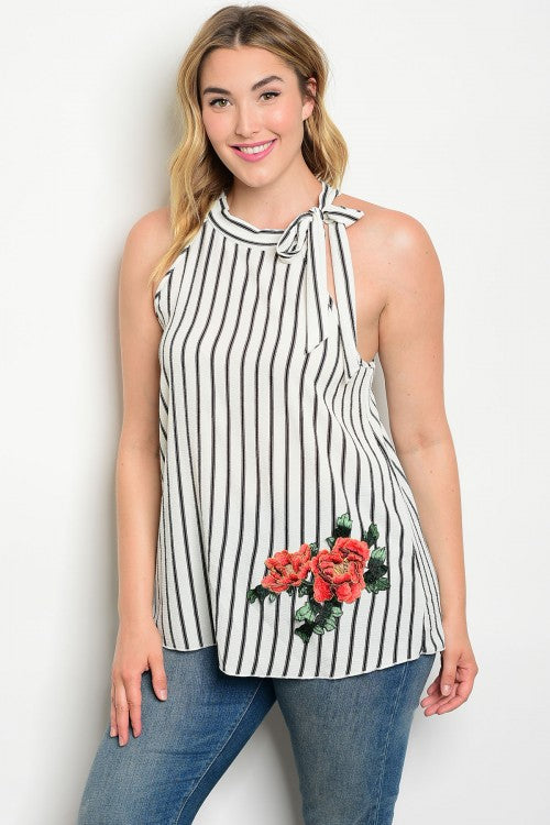 Black and White Stripe Sleeveless Top with Rose Accents Plus Size