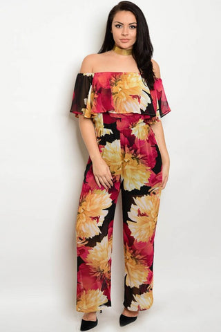 Black and Wine Red Off Shoulder Floral Plus Size Jumpsuit