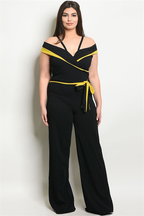 black and yellow cold shoulder jumpsuit