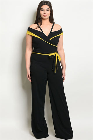 Black and Yellow Cold Shoulder Plus Size Jumpsuit