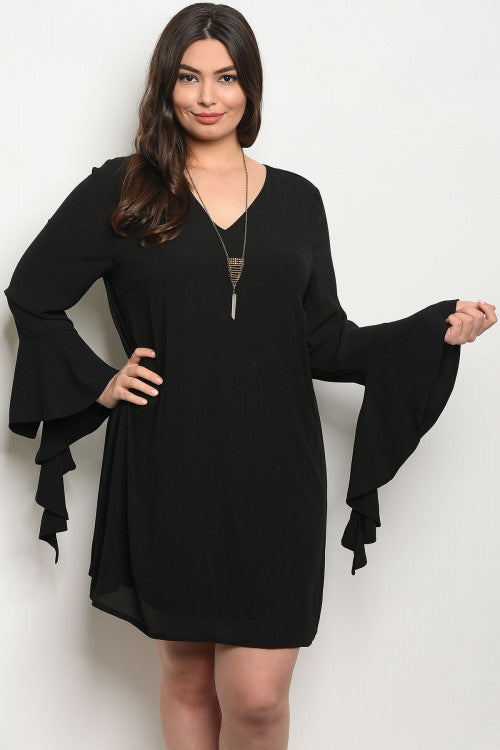 black bell sleeve plus size tunic dress