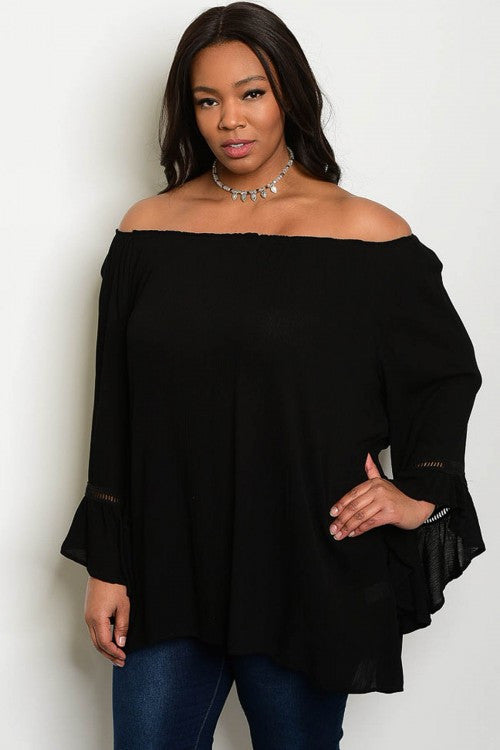 Women's Plus Size Black Boho Top with Long Bell Sleeves