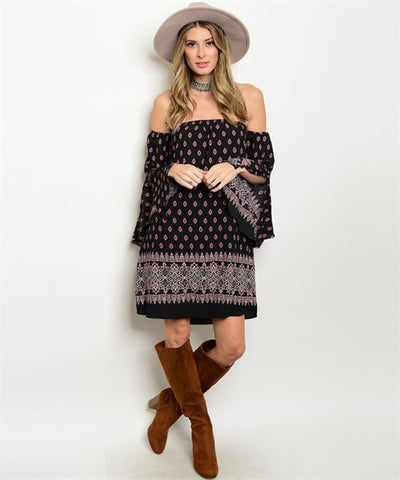 Misses Black Red and White Boho Bell Sleeve Tunic Dress