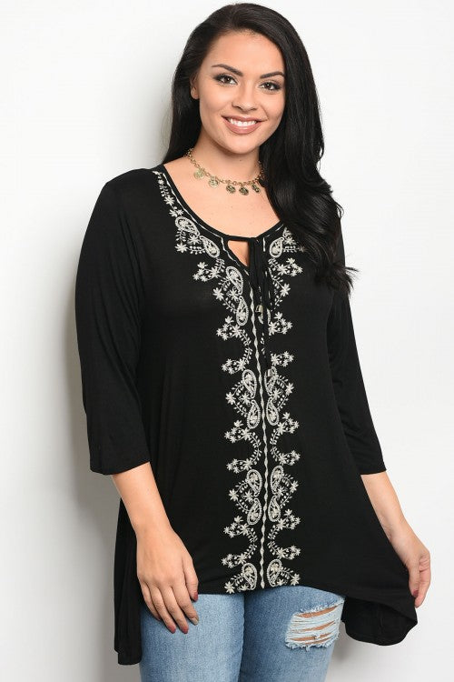 Black Embroidered Plus Size Boho Top
