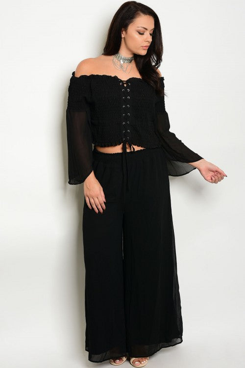 2pc Black Boho Inspired Wide Leg Top and Pants Set Plus Size