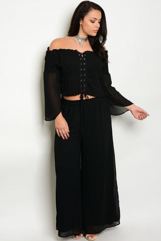 51280f0f97 2pc Black Boho Inspired Wide Leg Top and Pants Set Plus Size