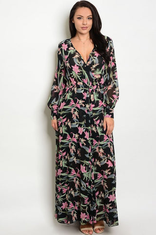 Black Chiffon Plus Size Maxi Dress with Lilies