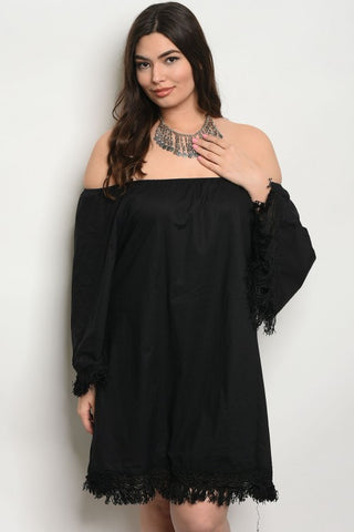 Black Cold Shoulder Fring Accent Plus Size Dress