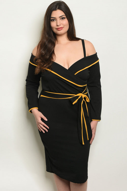 black cold soulder long sleeve plus size dress