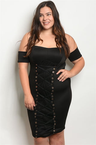 Black Strapless Corset Bodycon Plus Size Dress