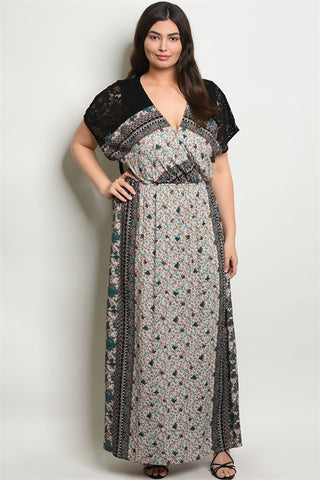 Black Floral Boho Plus Size Maxi Dress