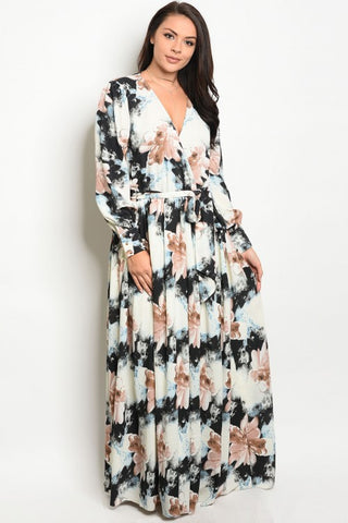 Black and Mauve Pink Floral Chiffon Plus Size Maxi Dress