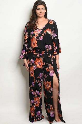 Black Floral Chiffon Top and Pants Set