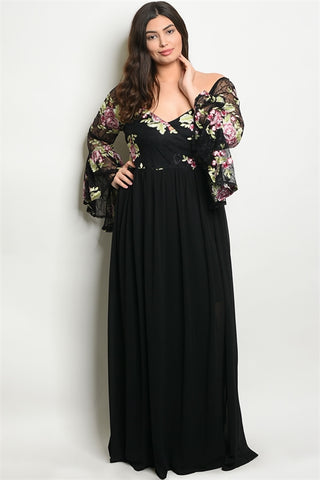 Black Floral Cold Shoulder Plus Size Gown