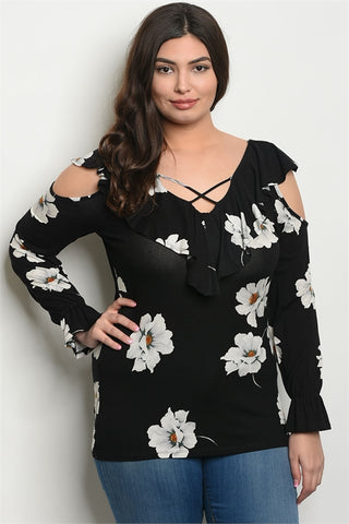 Black Floral Cold Shoulder Plus Size Top