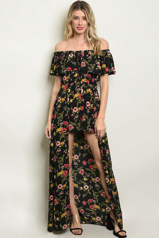 Black Floral Cold Shoulder Romper Maxi Dress