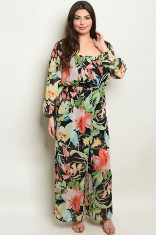 Black Floral Plus Size Jumpsuit