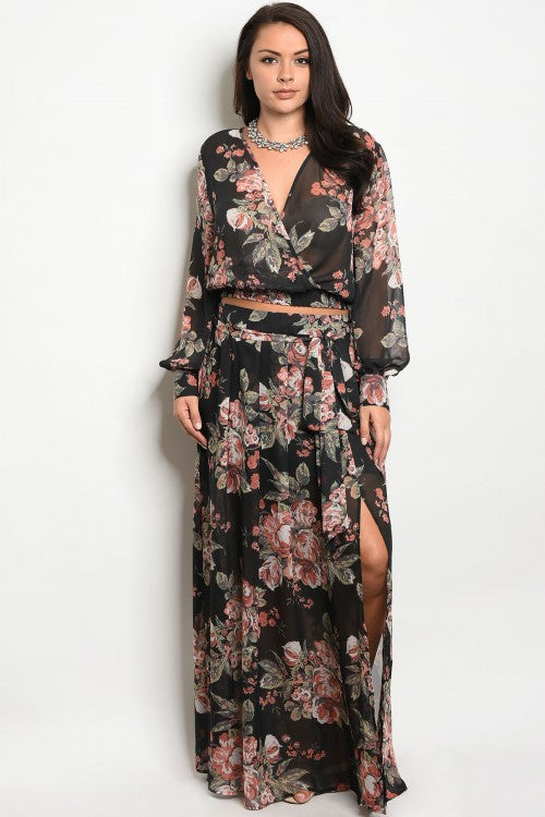 Black Floral Plus Size Chiffon Top and Maxi Skirt Set