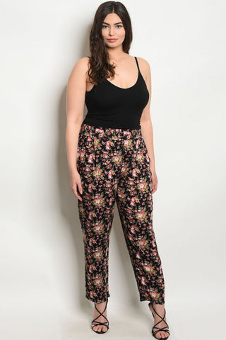 Black Floral Lightweight Plus Size Pants
