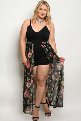 Black Floral Plus Size Romper with Maxi Skirt Train