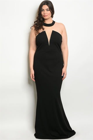 Black Plus Size Gown with Mesh Detail Mock Neckline