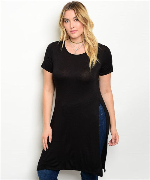 Women's Plus Size Long Black Jersey Knit Top with Side Slit