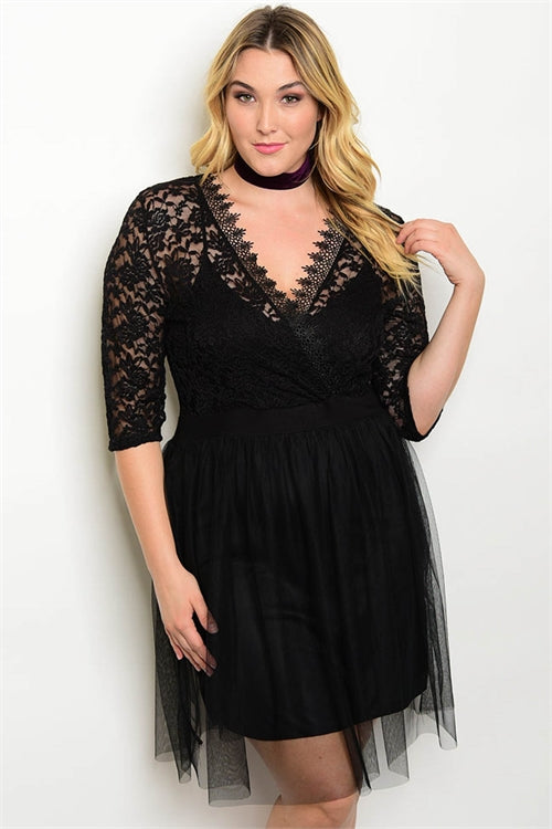 Black Lace and Tulle Plus Size Cocktail Dress