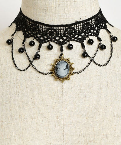 Black Lace Choker Necklace with Cameo Accent