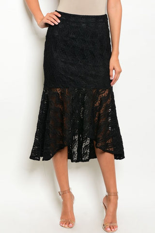 Misses Black Lace Mermaid Cut Skirt