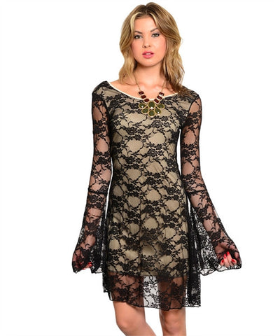 Misses Romantic Black Lace Overlay Bell Sleeve Dress