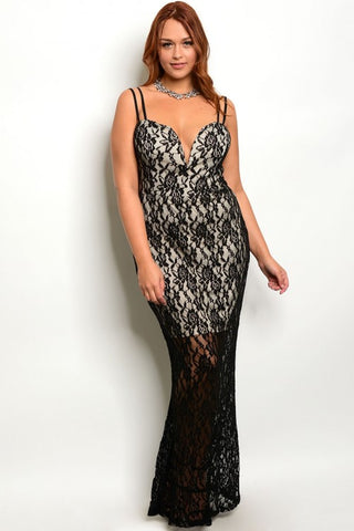 Black Lace Overlay Plus Size Bodycon Gown