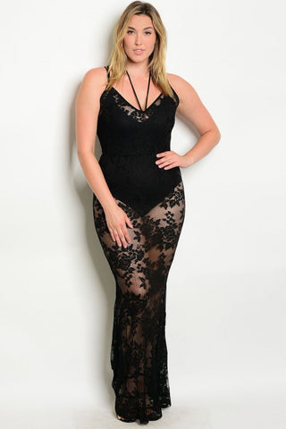 Black Lace Overlay with Sheer Accents Plus Size Maxi Dress